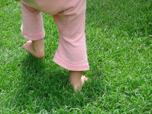赤ちゃん芝生歩く